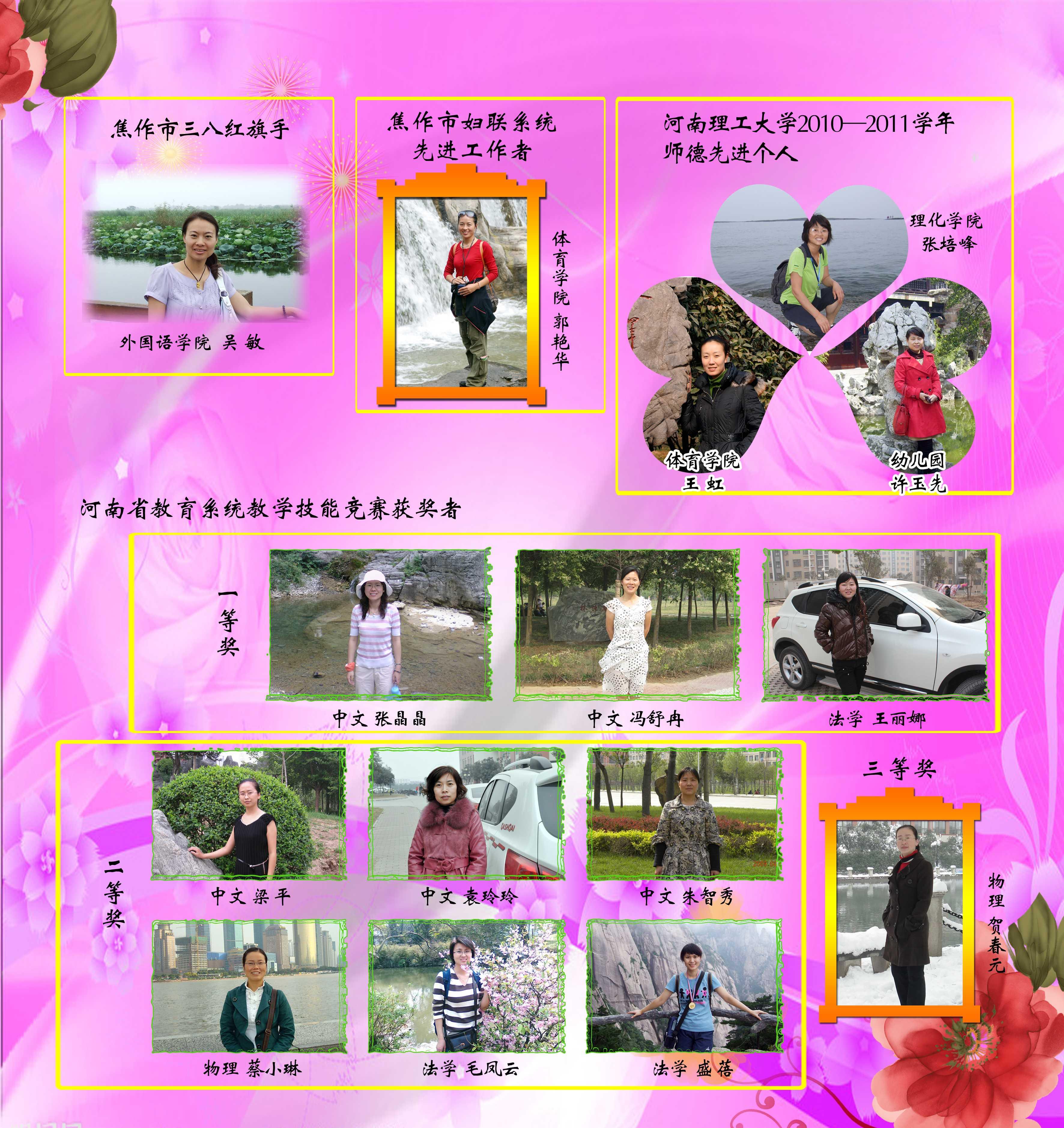 河南理工大学2011年度先进女职工风采展展板